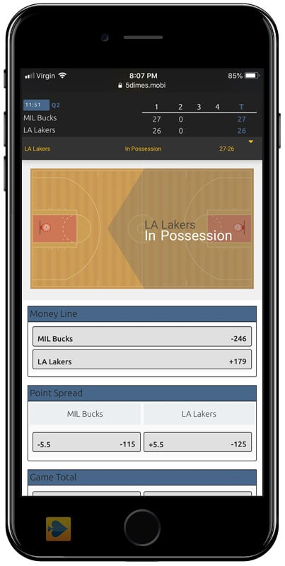 Mobile Live Betting at 5Dimes