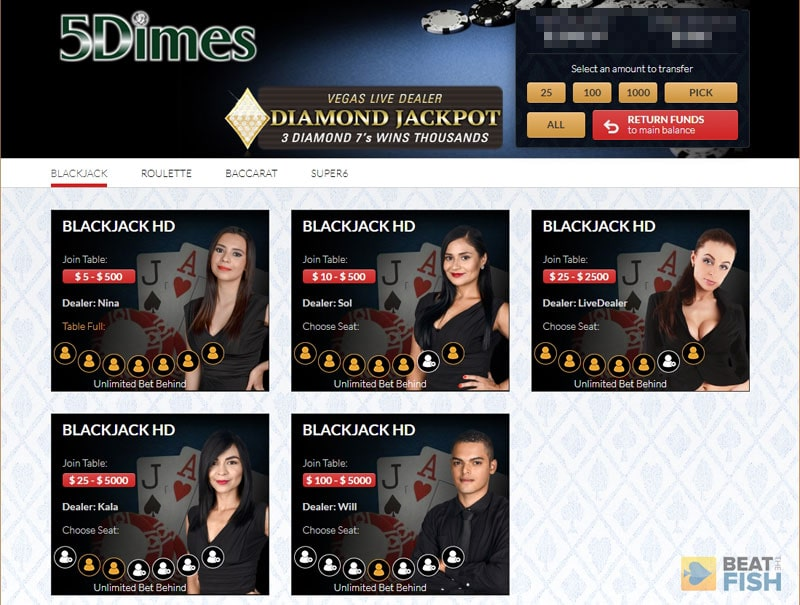 5Dimes Live Dealer Lobby