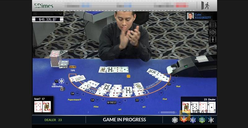 5Dimes Live Casino Blackjack