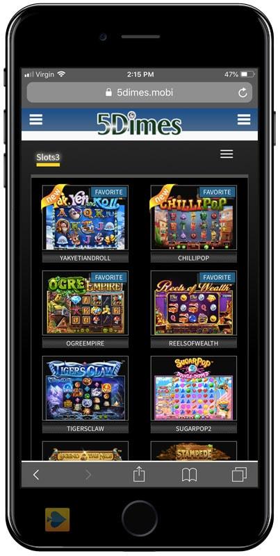 5Dimes Mobile Slots Lobby