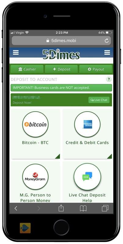 5dimes bitcoin visszavonás
