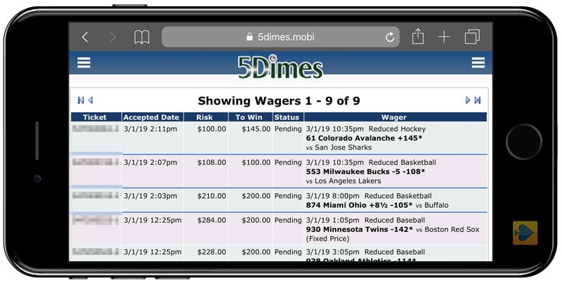 Mobile Wagering at 5Dimes