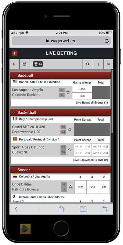 In-Game Mobile Betting at Wagerweb