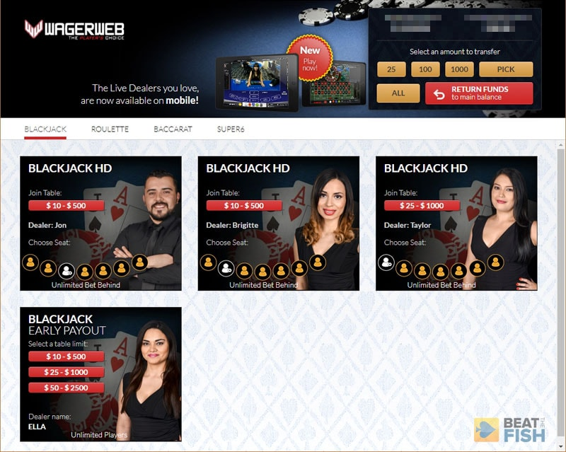 Wagerweb Live Dealer Lobby