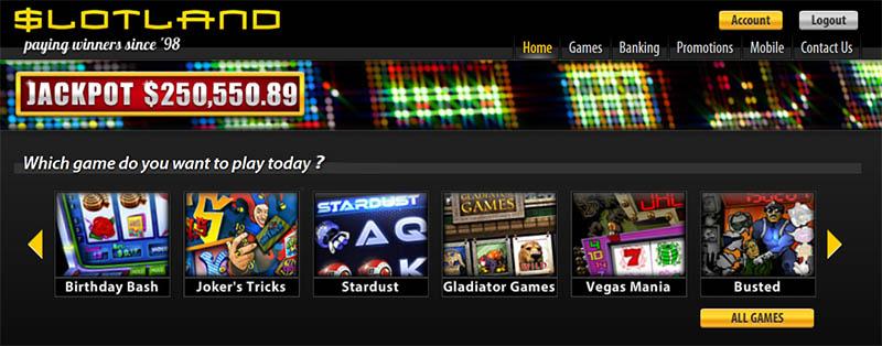 Slotland Casino homepage.