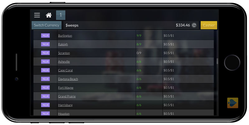 Global Poker Mobile Lobby