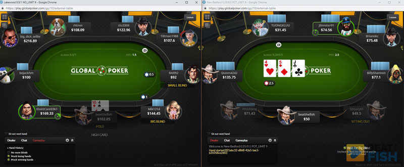 Multiple Tables at Global Poker