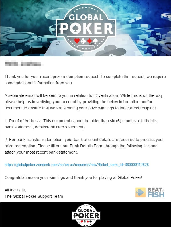 Global Poker ID Verification