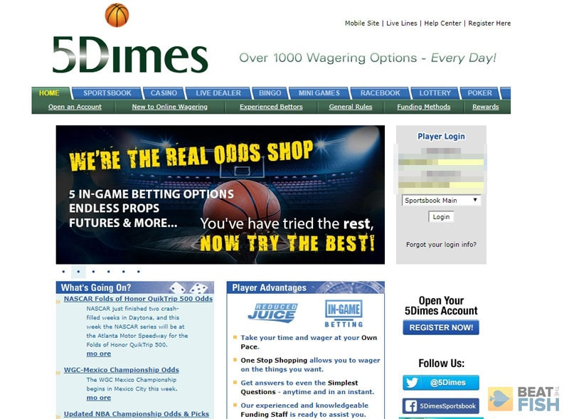 5Dimes.eu Sportsbook Website