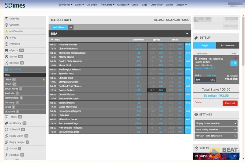 5Dimes Sports Betting Prime Interface