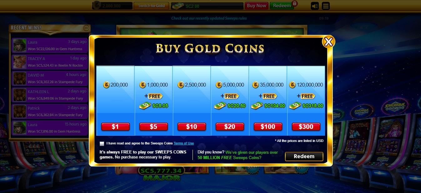 Chumba Casino Coins Pricing