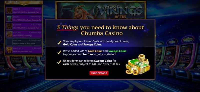 Chumba Casino Gold Coins and Sweeps