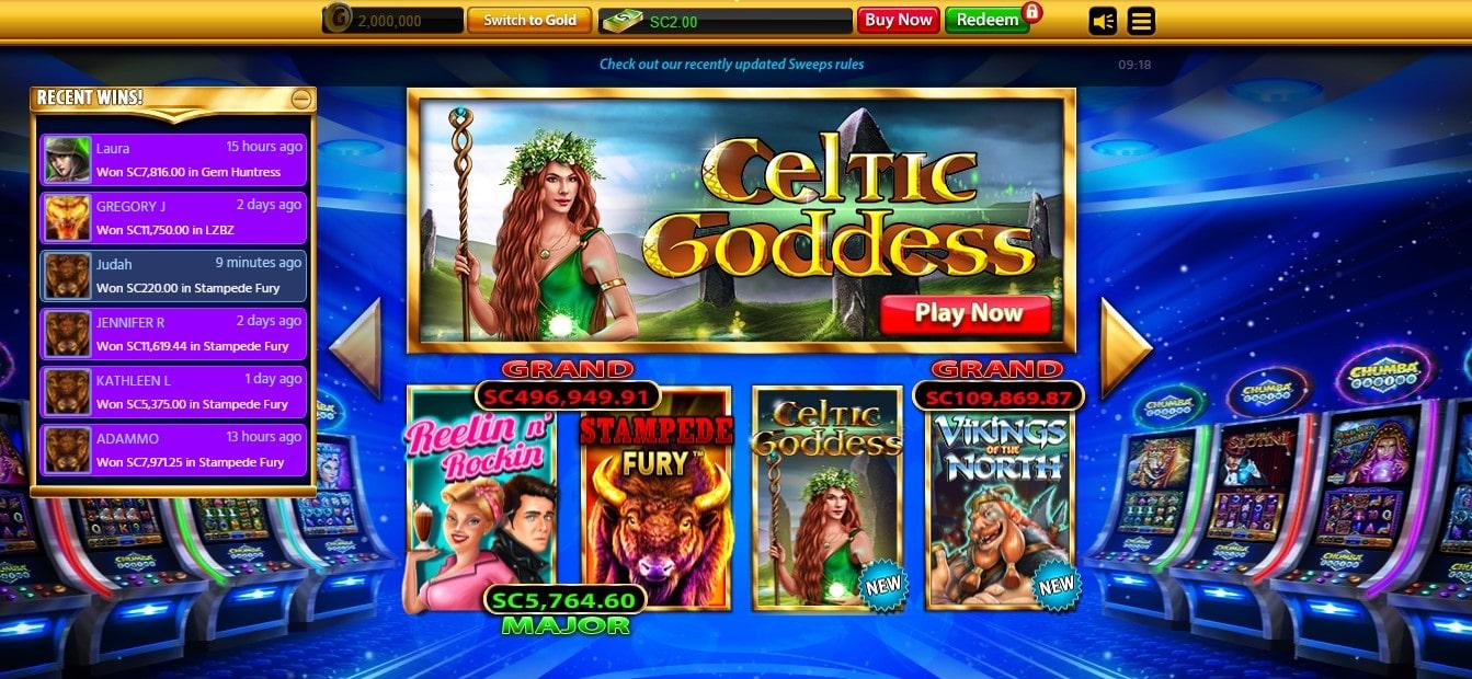 Chumba Casino Main Page Layout