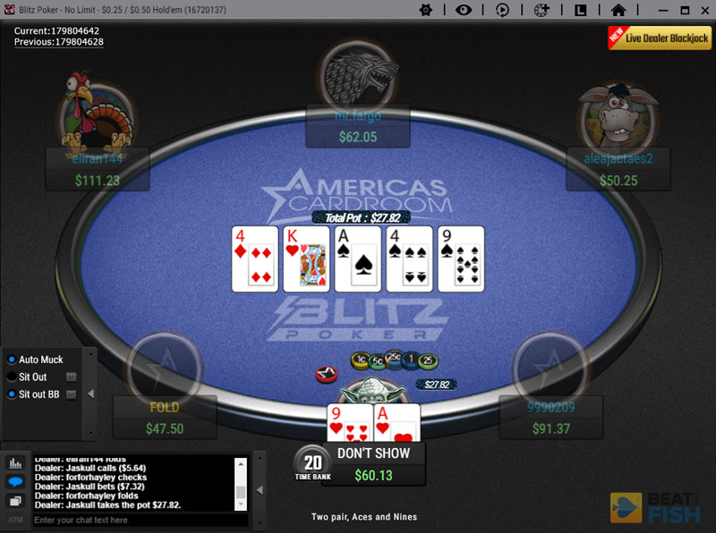 Blitz Poker Table at Americas Cardroom