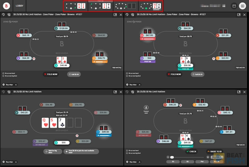 Bovada Poker's Instant Play Tables