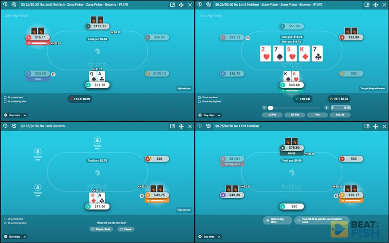Playing 4 Tables at Ignition Poker