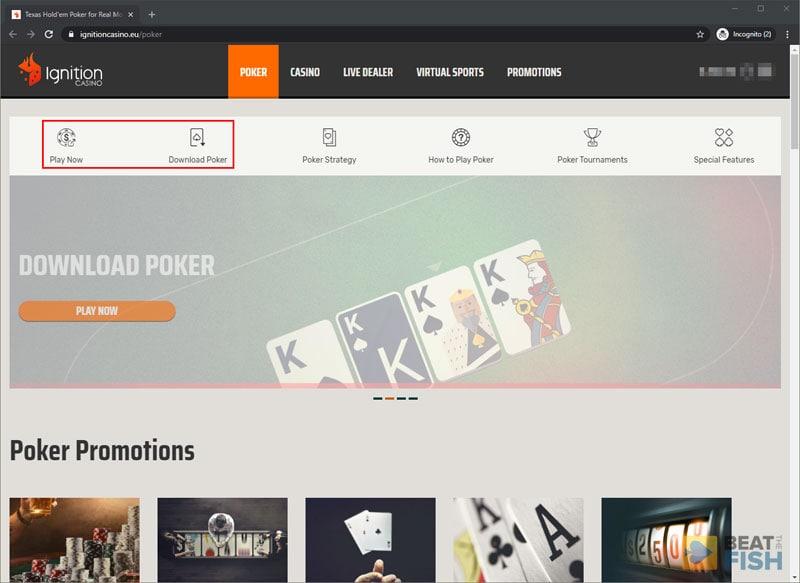 Ignition Poker Web-Based Gameplay