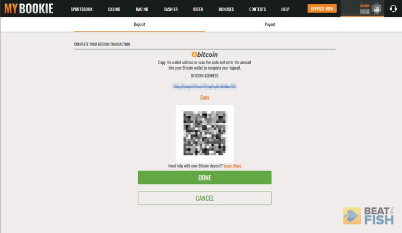 Bitcoin Deposit at MyBookie Sportsbook