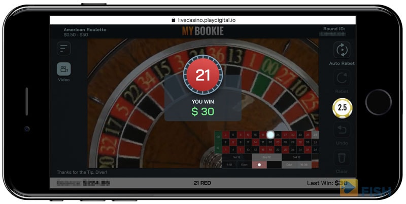 MyBookie.ag Live Roulette