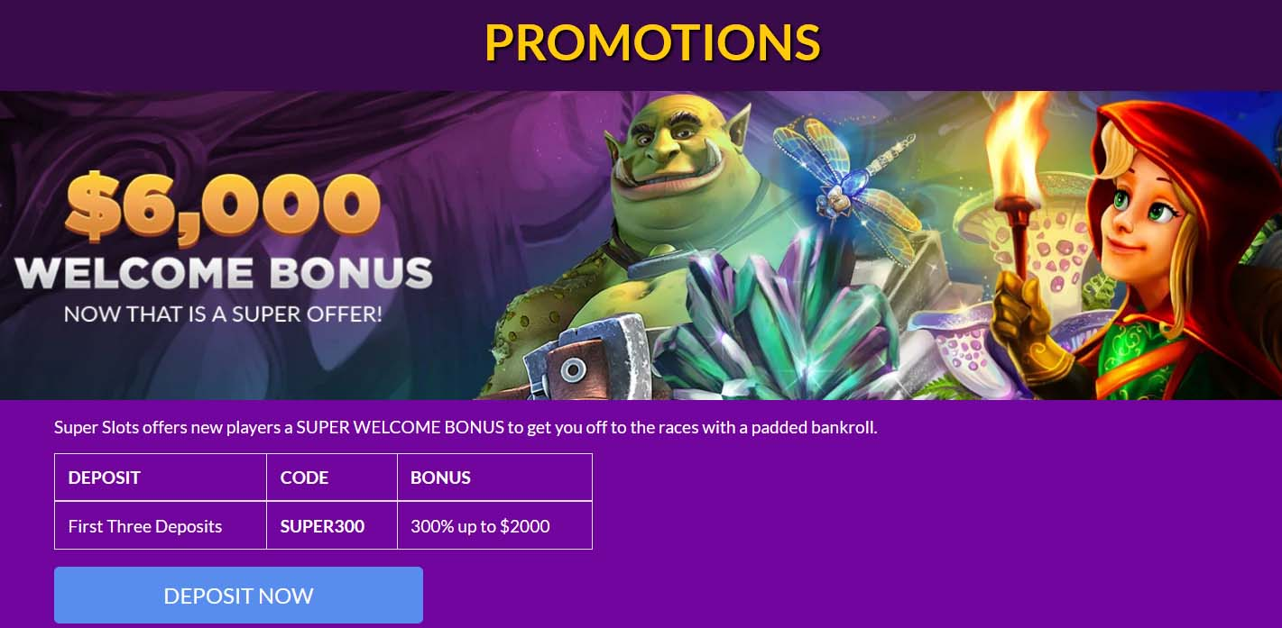 Deposit Bonus from Super Slots Casino