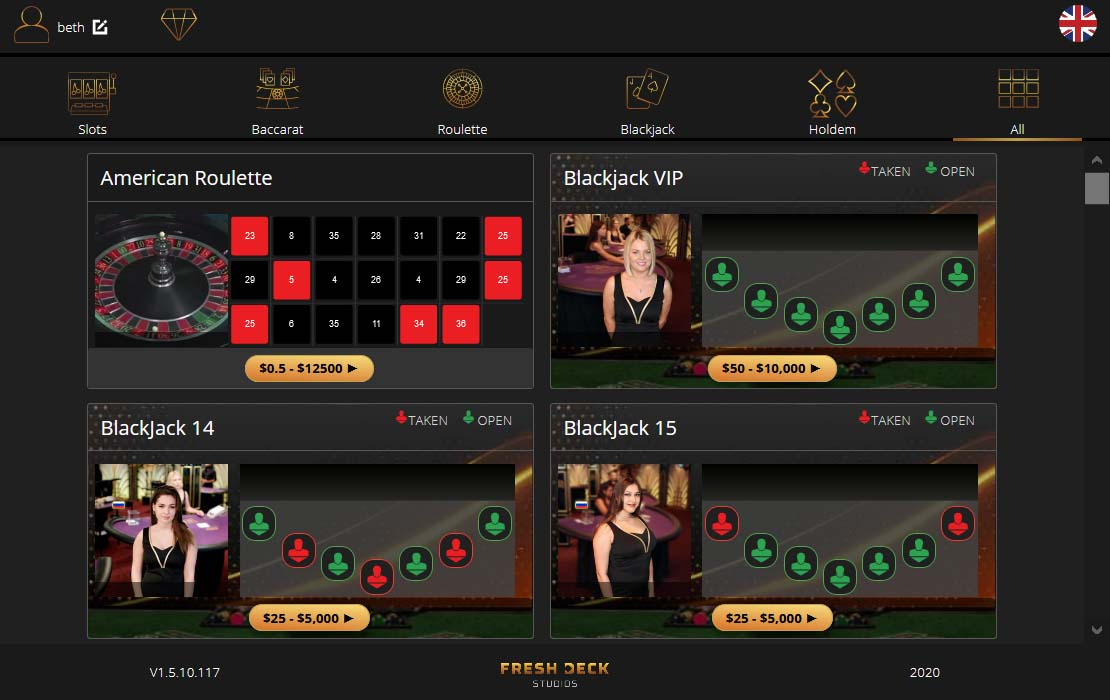 Live Dealer Blackjack from Visionary in Gaming