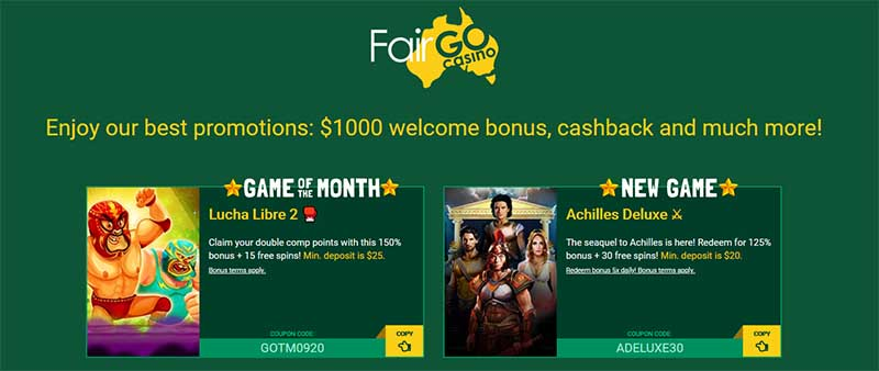 Fair Go Casino bonuses