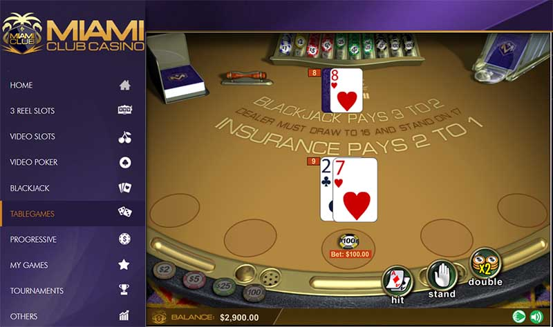 miami club online blackjack