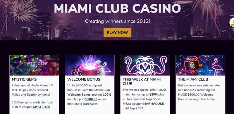 miami club homepage promotions