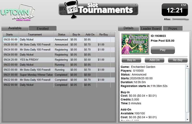slots tournament uptown casinos