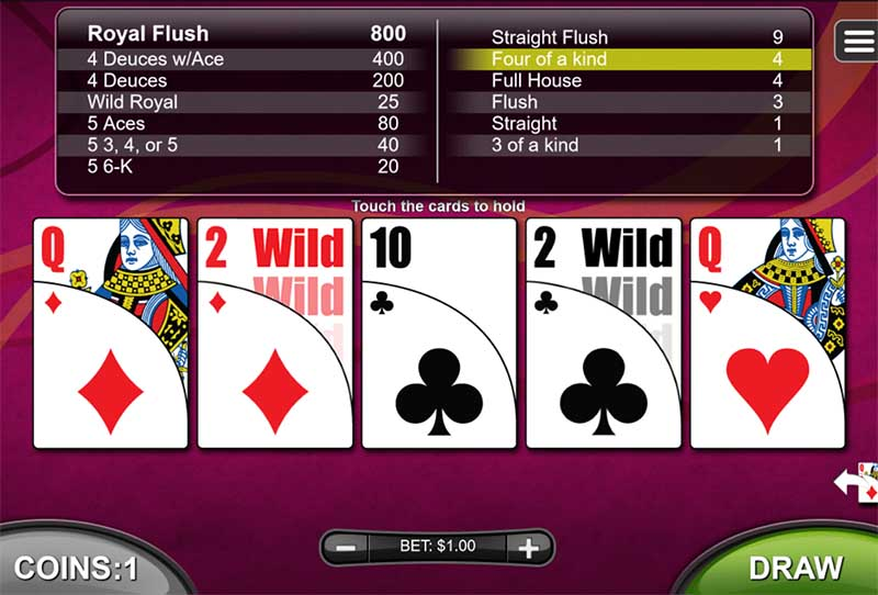 video poker at uptown aces online casino