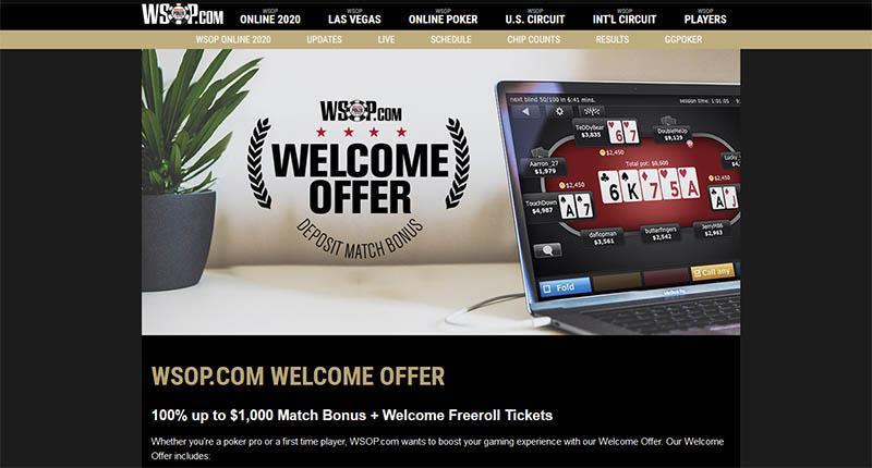 WSOP PA online poker welcome bonus