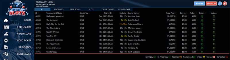 tournaments at liberty slots