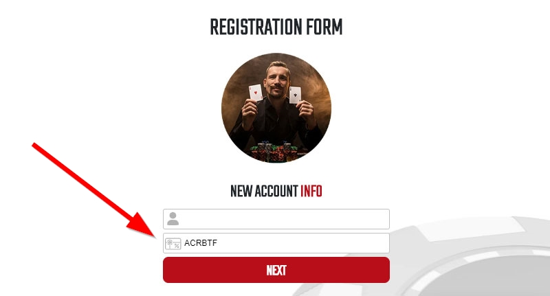 Americas Cardroom Referral Code Screen