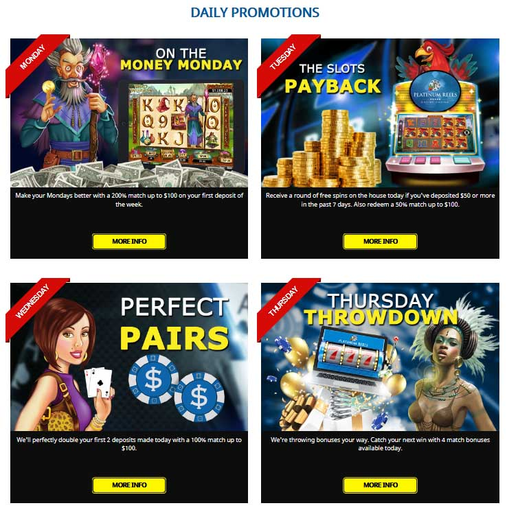 Daily promotional offers at Platinum Reels