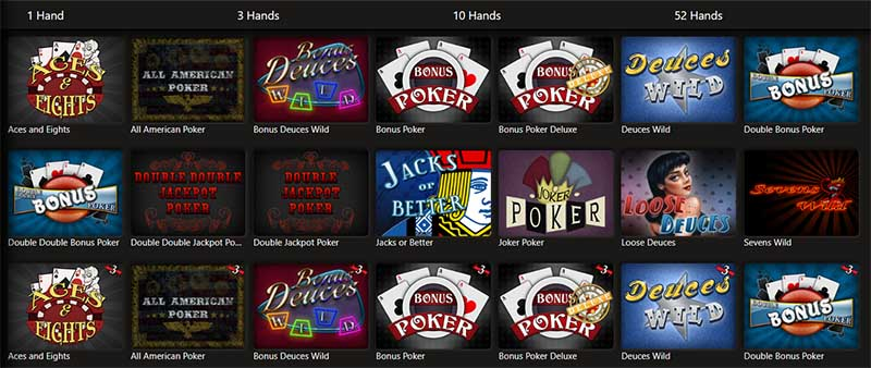 video poker selection at Platinum Reels