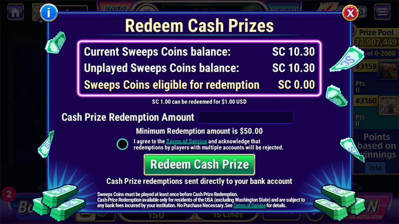 Redeeming Sweeps Coins at LuckyLand