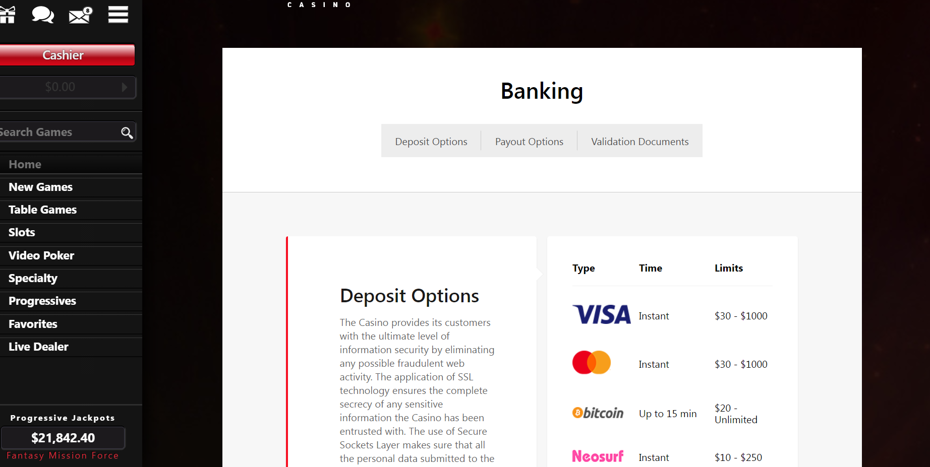 Red Dog Banking Info