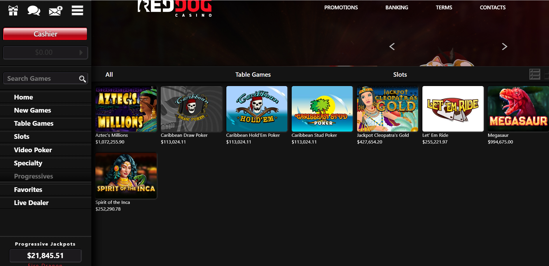 Red Dog Casino Table Games
