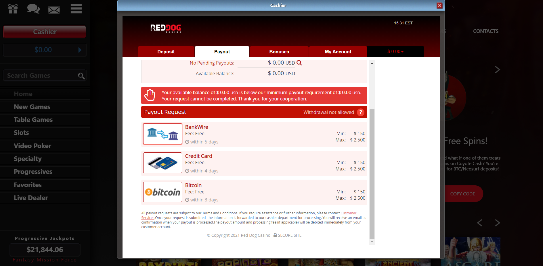 Red Dog Casino Payout