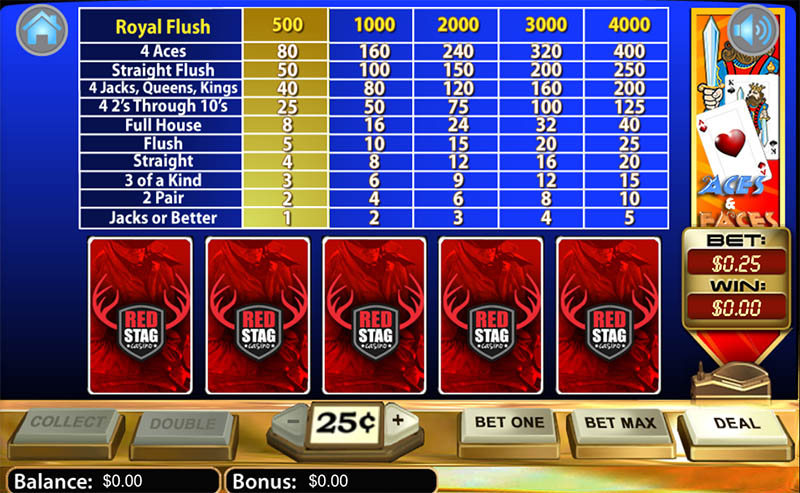 Video Poker at Red Stag Online Casino